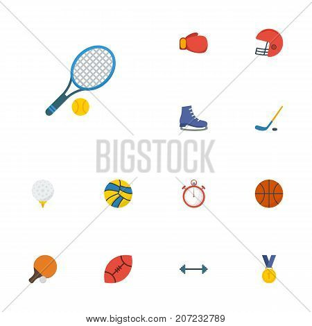 Flat Icons Reward, Boxing, Basket And Other Vector Elements