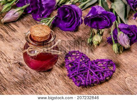 Magic Flower Elixir. Love potion. Copy space