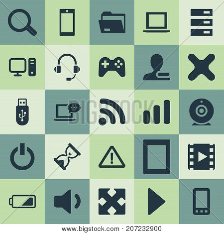 Elements Telephone, Quiet Sound, Begin And Other Synonyms Smartphone, Palmtop And Movie.  Vector Illustration Set Of Simple Device Icons.