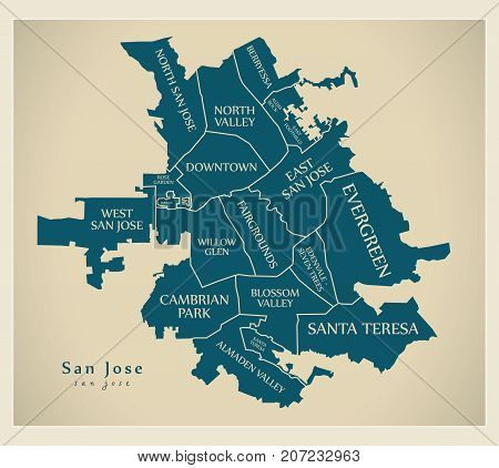 Modern City Map - San Jose City Of The Usa With Neighborhoods And Titles