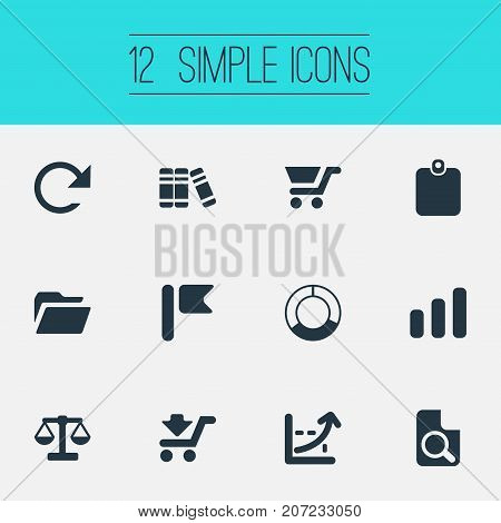 Elements Pennant, Growing Sales, Circle Diagram And Other Synonyms Balance, Magnification And Circle.  Vector Illustration Set Of Simple Investment Icons.
