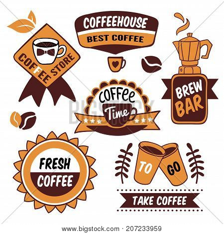 Coffee to go brown logos with cups and pot roasted grains leaves and ribbons isolated vector illustration