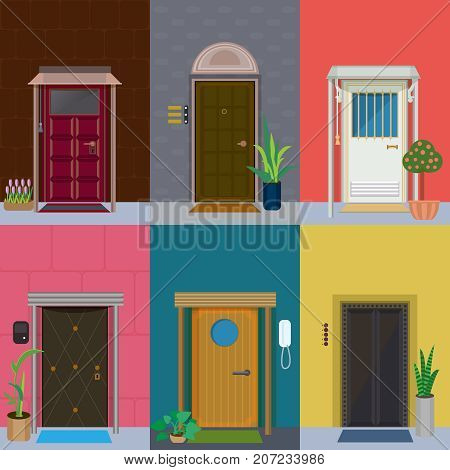 Flat elegant colorful doors set with plants in flowerpots and different types of doorbells isolated vector illustration