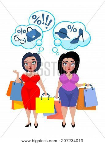 Colorful plus size fashion template with fat women holding shopping bags and thinking about new discounts and purchases vector illustration