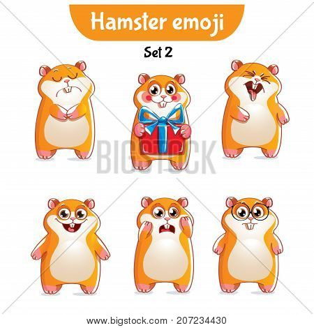 Set kit collection sticker emoji emoticon emotion vector isolated illustration happy character sweet, cute hamster