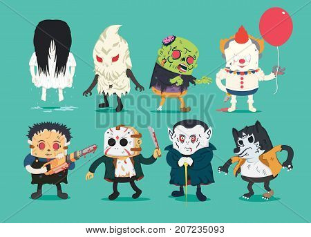 Scary halloween design set with vector vampire wolfman ghost character cutthroat assassin hold electric Saw zombie Joker
