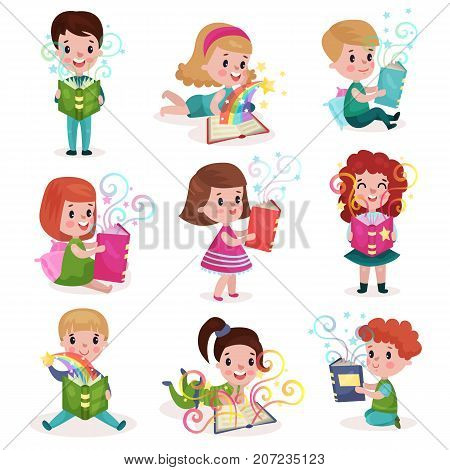 Cute little boys and girls reading fairytale books set, kids imagination concept colorful cartoon vector Illustrations on a white background