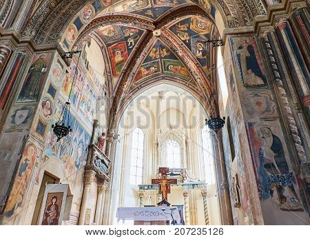 Galatina, Italy - August, 15. Frescoes of Chancel of Basilica di Santa Caterina of Alessandria. Galatina Apulia Italy.