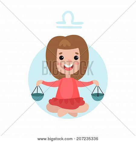 Sweet little girl as Libra astrological sign, horoscope zodiac character colorful cartoon vector Illustration on a white background