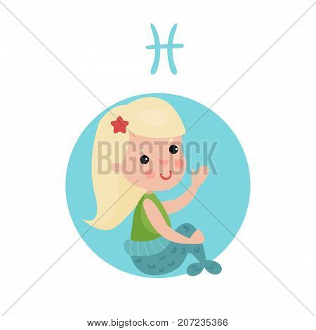 Sweet little girl as Pisces astrological sign, horoscope zodiac character colorful cartoon vector Illustration on a white background
