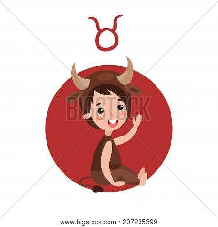 Cute little kid as Taurus astrological sign, horoscope zodiac character colorful cartoon vector Illustration on a white background