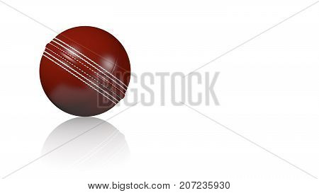 3D illustration of Cricket Ball on a white reflecting floor with a white background