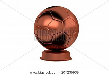 3D illustration of Handball Bronze Trophy with a white background