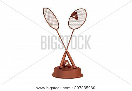 3D illustration of Badminton Bronze Trophy with a white background