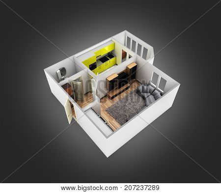 Interior Apartment Roofless Perspective View Apartment Layout On Balck Gradient Background 3D Render
