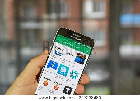 MONTREAL CANADA - SEPTEMBER 29 2017: Amazon applications on Samsung S7. Amazon.com Inc. doing business as Amazon is an American electronic commerce and cloud computing company based in Seattle.
