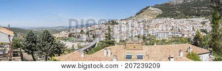 Panoramic view of Cazorla village in the Sierra de Cazorla Segura and the Villas (Biosphere Reserve) Jaen Spain