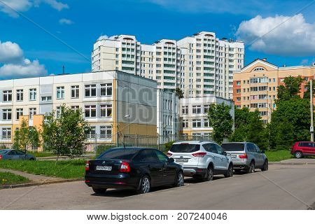 Zelenograd Russia May 26. 2017. New district number 20, view from the street of the pilot Tarasova