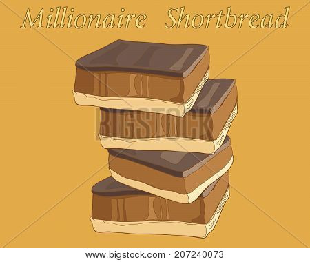 an illustration of a stack of millionaire shortbreads with chocolate and caramel on a toffee color background