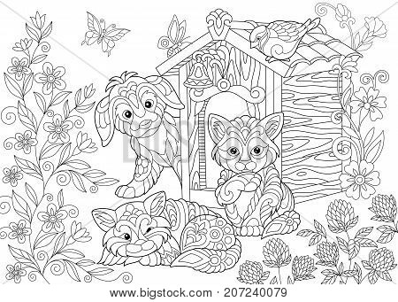 Coloring page of dog two cats sparrow bird and butterflies. Freehand sketch drawing for adult antistress coloring book in zentangle style.