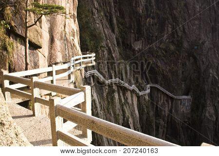 Stone Steep Steps . Trekking Walking Hiking Huangshan Mountain. Anhui, China. 13Th , April 2009