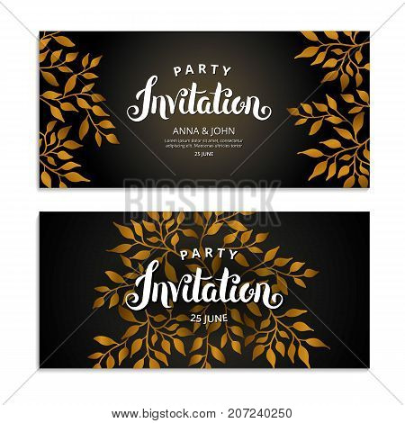 gold autumn floral invitation golden fall frame party invitation greeting cards happy
