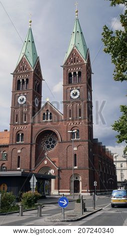 The Franciscan Church is the youngest of Maribor historical and architectural sights of red brick