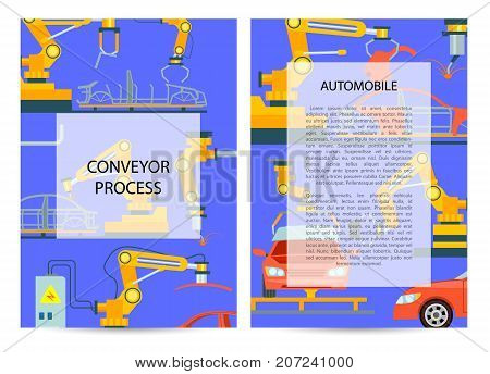 Car manufacturing process concept. Modern engineering systems, automobile production line, conveyor for assembly of cars. Factory with smart robotic automotive assembly line vector illustration.