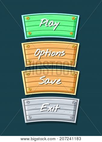 App graphical user interface cartoon collection. Play, save, options and exit original buttons. Bright user design set, computer game menu, navigation objects isolated vector illustration.