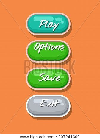 App graphical user interface cartoon design set. Play, save, options and exit original buttons. Bright user navigation objects, computer game menu collection isolated vector illustration.