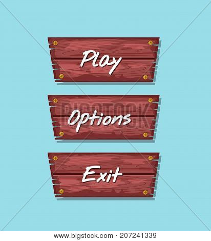 Cartoon board for computer game menu interface. Play, options and exit original buttons. Bright user design set, app graphical user interface, navigation objects isolated vector illustration.