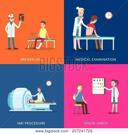 Medical treatment and healthcare posters. Clinical analysis, treatment of bone fractures, tomography scanning procedure, vision check, medical examination. Doctor visit in clinic vector illustration