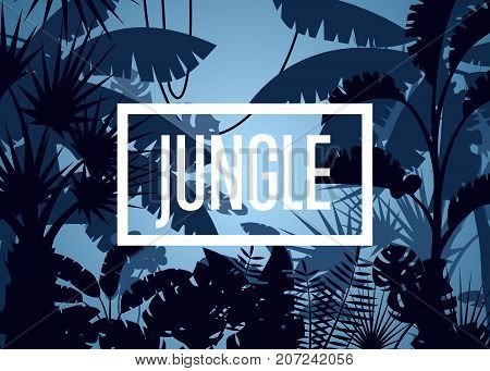 Deep tropical jungle poster with palm leaves and trees. Floral landscape, wildlife concept, wood silhouettes, evening rainforest background. Night forest backdrop vector illustration in cartoon style