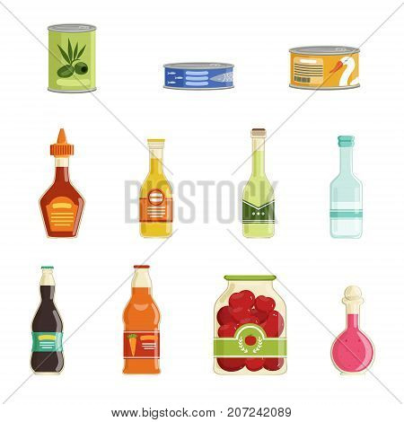 Cartoon canned goods set. Tinned juices, soups, fish, sauces, vegetables conservation. Preserve food in metal tin and glass jar with labels. Flat design. Vector illustration isolated on white.