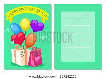 Happy birthday kids postcard set. Holiday congratulation, greeting card with gift boxes and air balloons. Invitation templates for children party, event celebration vector illustration