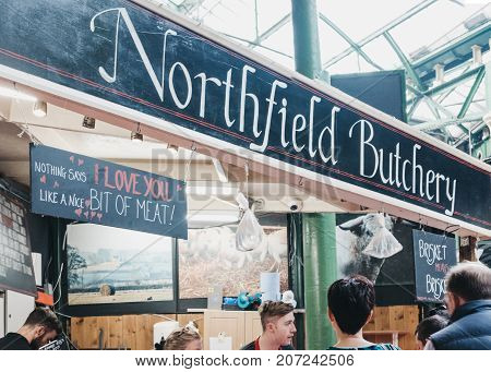LONDON, UK - SEPTEMBER 30, 2017: Northfield Butchery in Borough Market, one of the largest and oldest food markets in London.