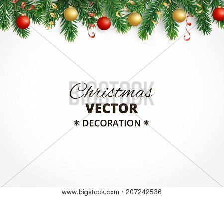 Holiday background with christmas tree garland and ornaments. Hanging gold and red balls and ribbons. Great for christmas cards, banners, flyers, party posters. Vector illustration