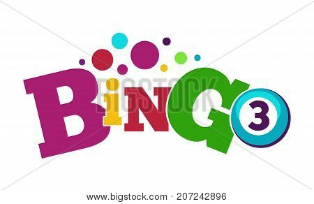 Bingo game colorful poster with ball with number and bright dots above isolated cartoon flat vector illustration on white background. Game of chance to win some easy money promotional banner.