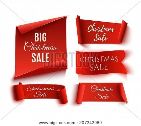 Set of five red, Christmas Sale, realistic, paper banners. Vector illustration
