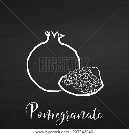 Pomegranate Drawing On Chalkboard