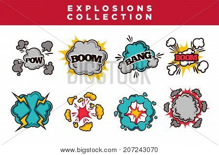 Comic bubble clouds set cartoon text Boom Bang and Pow explosions and puff blasts. Vector isolated flat icons set
