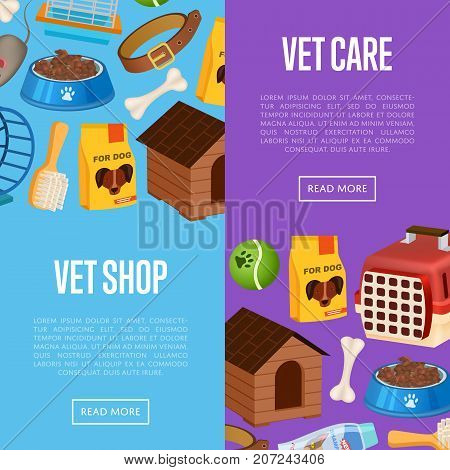 Vet shop posters in cartoon style. Pet store advertisement with animal preserved food, toys and vet care accessories. Veterinary clinic and homeless animals shelter vector illustration template.