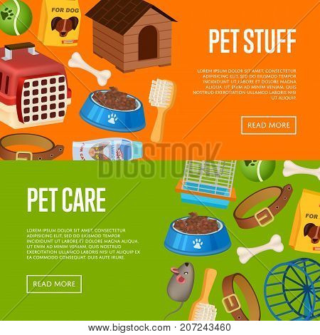 Pet care poster in cartoon style. Pet store advertisement with animal preserved food, toys and vet care accessories. Veterinary clinic and homeless animals shelter vector illustration template.