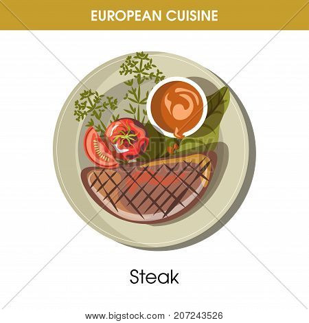 European cuisine beefsteak or meat steak traditional dish with vegetables grill garnish on plate. Vector flat isolated icon for Europe restaurant menu or cooking recipe template