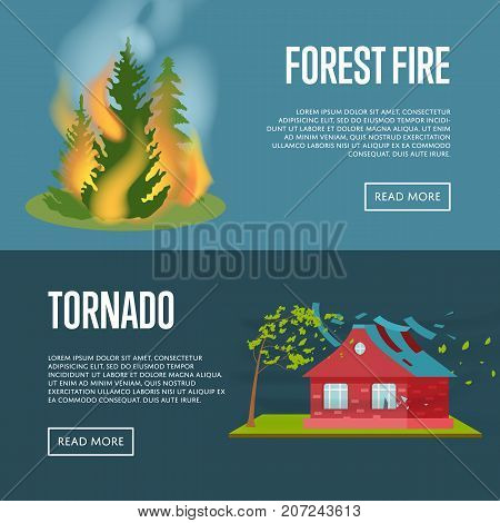 Tornado and forest fire banners. Natural disaster concept, danger regional catastrophe, dangerous weather and extreme climate. Warning about emergency situation vector illustration in cartoon style.