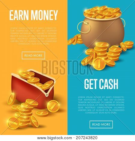 Earn money and get cash posters. Golden coins in old bronze pot and purse.  vector illustration in cartoon style.
