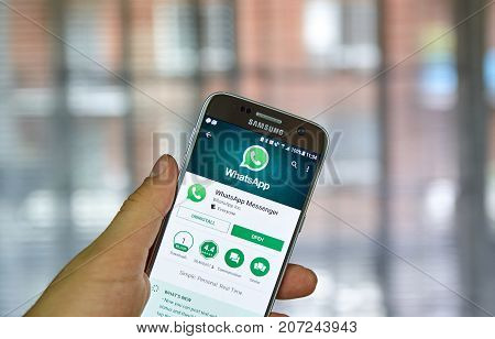 MONTREAL CANADA - SEPTEMBER 28 2017 - Whatsapp mobile application on screen of Samsung S7. WhatsApp Messenger is a freeware and cross-platform instant messaging service for smartphones