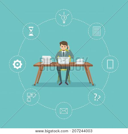 Time management poster with businessman in office. Time planning and control for effiecient succesful and profitable business. Effective working time organization vector illustration in flat style.