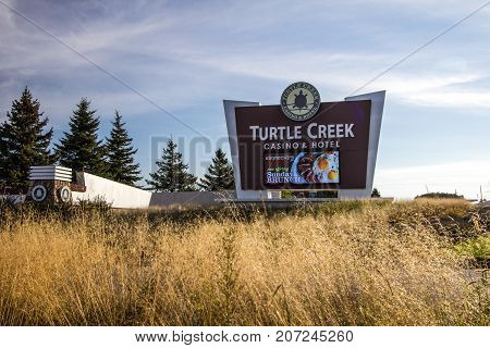 Traverse City, Michigan, USA - October 3, 2017: The Turtle Creek Casino is owned by the Grand Traverse Band of Ottawa and Chippewa Indians. They also own Leelanau Sands and the Grand Traverse Resort.