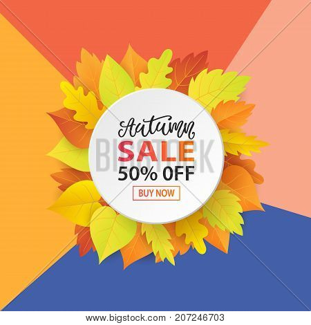 Autumn Sale Fashionable Banner Template with Colorful Fall Leaves on bright trendy background. Shopping Discount promotion. Poster, card, flyer, label trendy design. Vector illustration